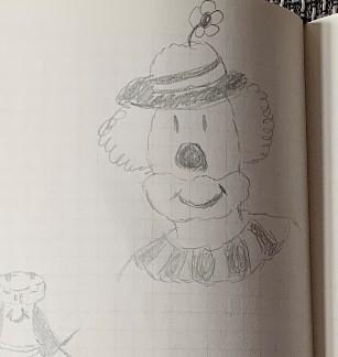 Die Zeichnung eines Clowns