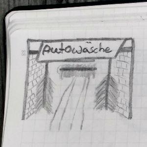 Zeichnung einer Autowäsche